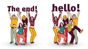 The end and hello sign team group business people isolate. Stock Photography