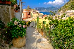 End of  hiking path between Corniglia and Vernazza. Stock Photography