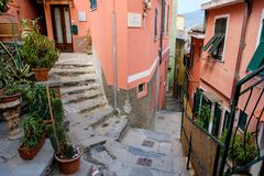 End of  hiking path between Corniglia and Vernazza. Royalty Free Stock Photo