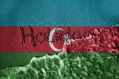 End of holiday sign and sea wave background or texture with blending  Azerbaijan flags Stock Photo