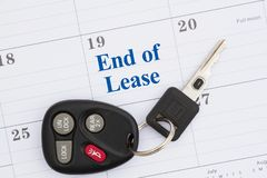 End of lease message with monthly calendar with car keys. And fob stock image