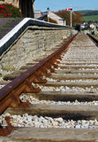 End of the Line. Old railway track and station at West Bay, Dorset Stock Photos