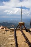 Really the end of the line. A cog railway up to the top of Pikes Peak in Colorado really does end ad the end of the line - the edge of a cliff Royalty Free Stock Photo