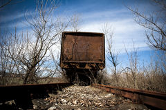 End of the line. Old abandoned rusting train and railway Royalty Free Stock Photos