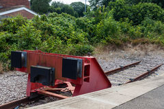 The End of The Line. A buffer stop aka a bumper post at the terminus of a rail line stock photo