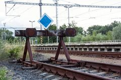 End of the line of railway. End of the railway line royalty free stock photo