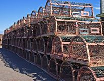 End of lobster season. Lobster traps on the dock at the end of the lobster season Stock Photography