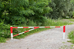 End of the macadam road with the ramp Stock Photo