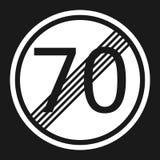 End maximum speed limit 70 sign flat icon Stock Photos