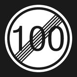 End maximum speed limit 100 sign flat icon. Traffic and road sign, vector graphics, a solid pattern on a black background, eps 10 Stock Photo