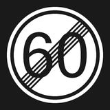 End maximum speed limit 60 sign flat icon Stock Photography