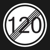 End maximum speed limit 120 sign flat icon. Traffic and road sign, vector graphics, a solid pattern on a black background, eps 10 Royalty Free Stock Images