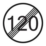 End maximum speed limit 120 sign line icon. Traffic and road sign, vector graphics, a solid pattern on a white background, eps 10 Royalty Free Stock Photo