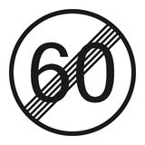 End maximum speed limit 60 sign line icon Stock Images