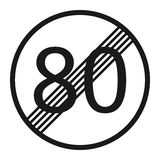 End maximum speed limit 80 sign line icon Stock Photos