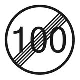 End maximum speed limit 100 sign line icon. Traffic and road sign, vector graphics, a solid pattern on a white background, eps 10 Royalty Free Stock Photography