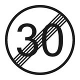 End maximum speed limit 30 sign line icon Royalty Free Stock Photo