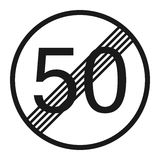 End maximum speed limit 50 sign line icon royalty free illustration