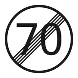 End maximum speed limit 70 sign line icon Stock Images