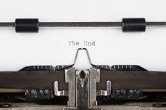 The End message printed on typing machine Stock Photos