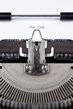 The End message printed on typing machine Royalty Free Stock Images