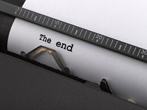 The end message typed by vintage typewriter Royalty Free Stock Images
