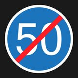 End Minimum Speed Sign 50 flat icon. Traffic and road sign, vector graphics, a solid pattern on a black background, eps 10 Stock Image