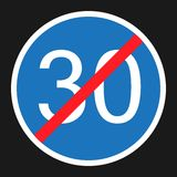 End Minimum Speed Sign 30 flat icon. Traffic and road sign, vector graphics, a solid pattern on a black background, eps 10 Royalty Free Stock Image
