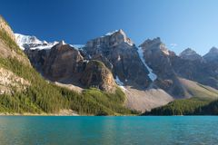 End of Moraine Lake. Mountains at Moraine Lake with a thick glacier Stock Photo