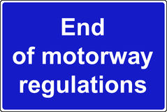 End of motorway regulations sign Stock Images