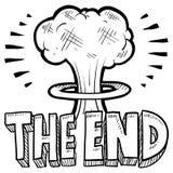 The End mushroom cloud sketch Royalty Free Stock Image