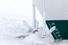 The end of navigation. The ship or vessel is in the captivity of ice and snow royalty free stock images