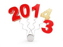 End of 2013 new year 2014. On a white background Stock Photos