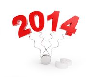 End of 2013 new year 2014. On a white background Royalty Free Stock Photo