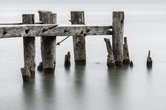 End of an old broken pier, closeup of posts standing in calm tra Stock Photography