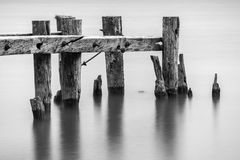 End of an old broken pier, closeup of posts standing in calm tra Stock Photos