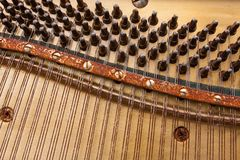 The strings of a musical instrument. End an old piano, which has left only the strings stock image