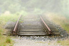 The End. Old railway rails end in the countryside Royalty Free Stock Images