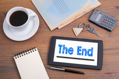 The End. Old wooden office desk Royalty Free Stock Photography