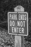 End of park sign Royalty Free Stock Photography