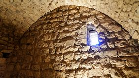 End of a passage through the fortress of Karak, Jordan, with a small window at the upper end of the wall. Middle east Stock Photo