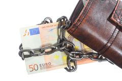 End of personal spending.  Purse euro banknote in chain Stock Photo