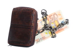 End of personal spending.  Purse euro banknote in chain Stock Image