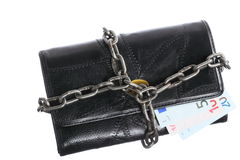 End of personal spending.  Purse euro banknote in chain Stock Photography
