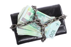End of personal spending.  Purse polish banknote in chain Royalty Free Stock Photos