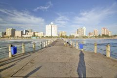 End of pier view of Durban skyline, South Africa on the Indian Ocean Stock Photography