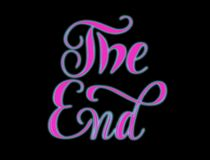 The End - pink hand lettering with glow. stock photos