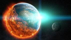 The end of planet Earth 3D rendering elements of this image furn Stock Images