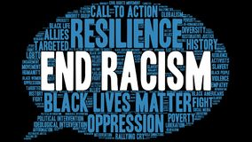 End Racism Word Cloud. On a black background Stock Photos