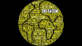 End Racism Word Cloud. On a black background Royalty Free Stock Photos